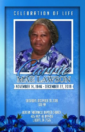 Carrie M. Lawson 1946 – 2019